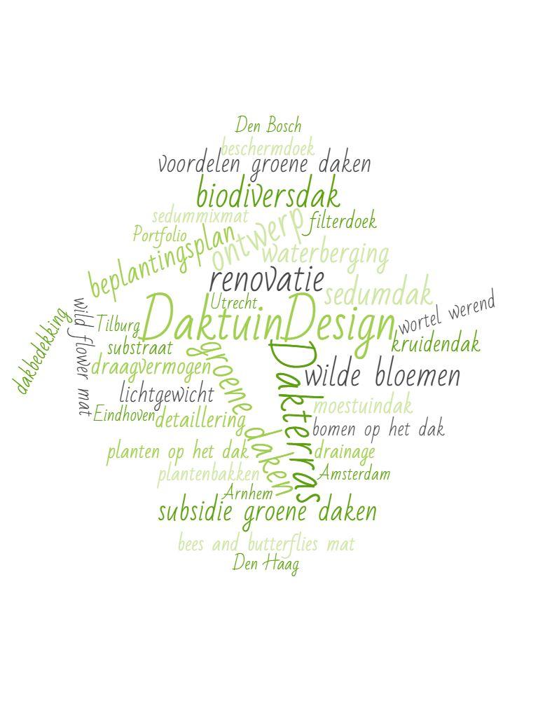 Woordenwolk DaktuinDesign, daktuin ontwerp, dakterras, groene daken, voordelen, subsidie groene daken
